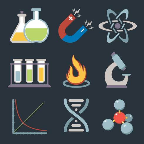 Ícones de ciência física vetor