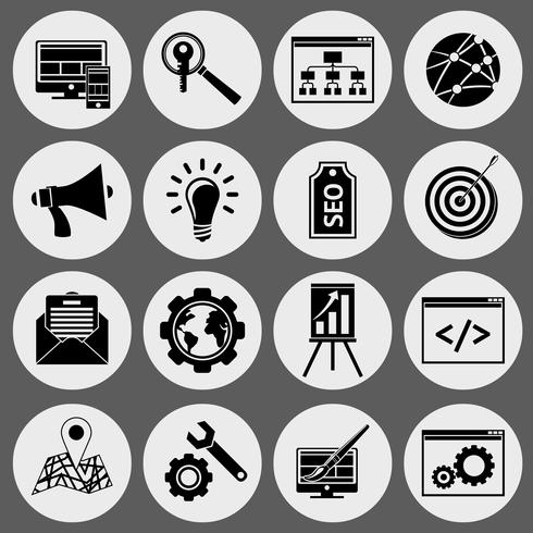 SEO icons black set vector