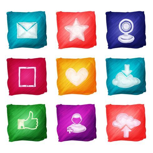 Sociala medier ikoner akvarell