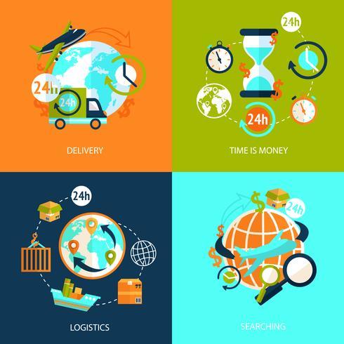 Conjunto de iconos logísticos vector
