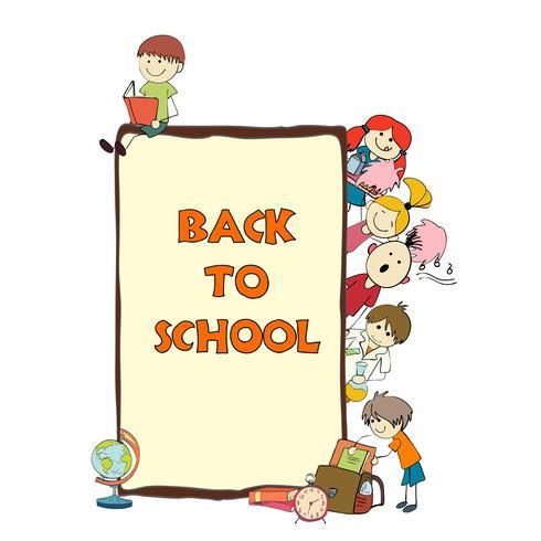 Cartaz de desenho de escola de crianças vetor