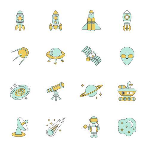 Conjunto de ícones de linha de espaço vetor