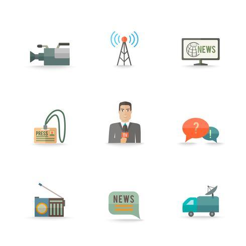 Conjunto de ícones de repórter de jornalista