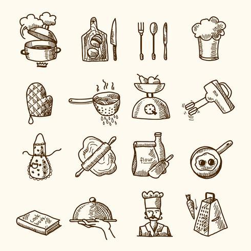 Schizzo di icone di cottura
