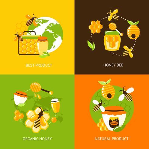 honung ikoner uppsättning vektor