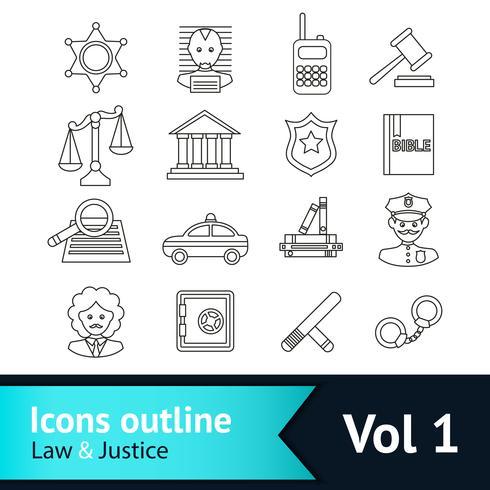 Gesetz und Gerechtigkeit Icons Set