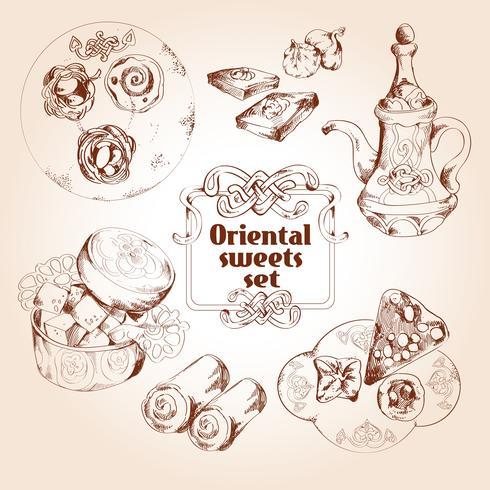 Oriental sweets sketch set