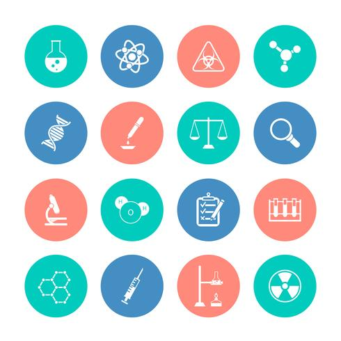 Chemistry icons on color circles