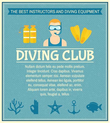 Cartaz do clube de mergulho vetor