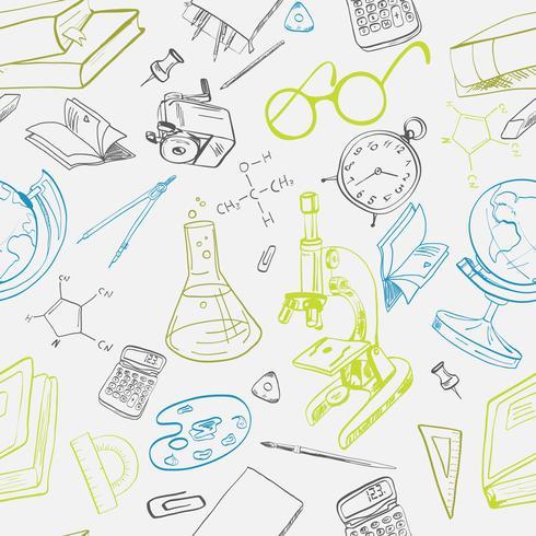 Doodle de ícone de educação sem emenda vetor