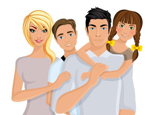 Familia feliz realista