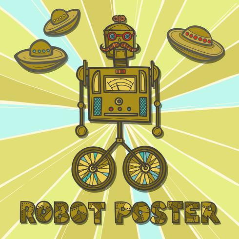 Conception de robot hipster vecteur