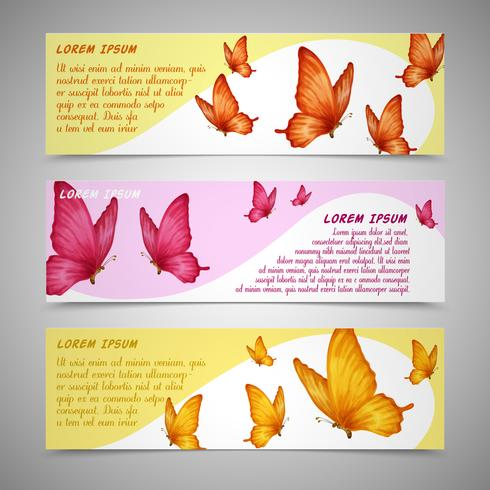 Conjunto de bandeiras de borboletas vetor