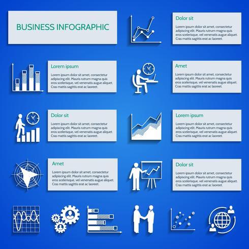 Infografía de iconos de gráfico de negocios