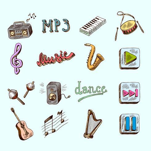 Iconos de la musica vector