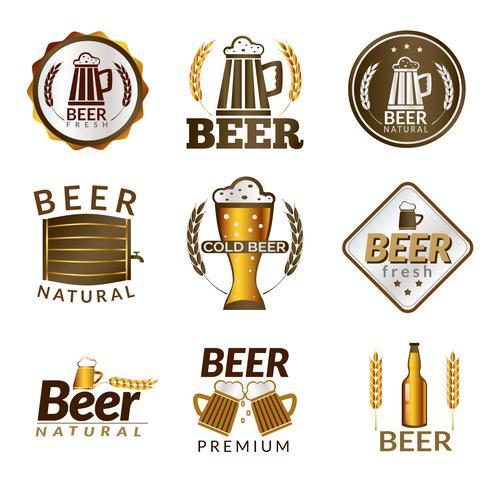 Emblemas de cerveja dourada vetor