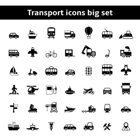Conjunto de vehículos de transporte universales pictogramas. vector