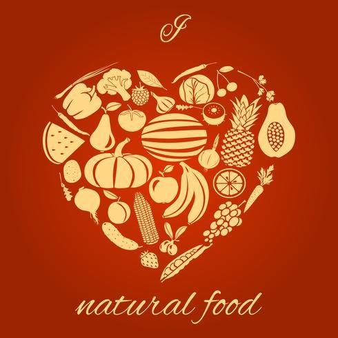 Coração alimento natural vetor