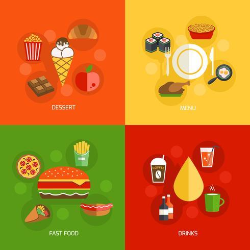 Composición de los alimentos plana vector