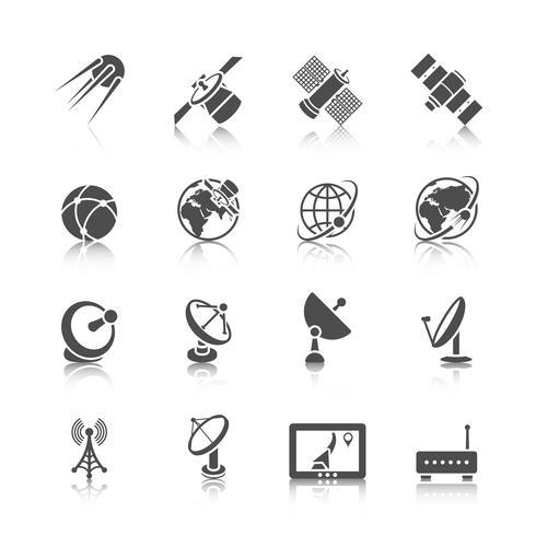 Conjunto de ícones de satélite vetor