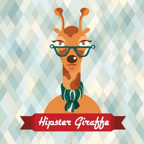 Cartaz de girafa hipster vetor