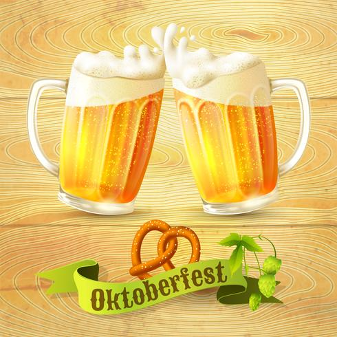 Canecas de cerveja Octoberfest poster vetor