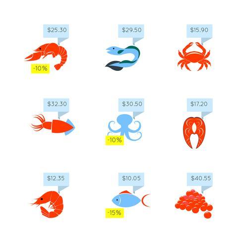 Conjunto de ícones de preço de frutos do mar vetor