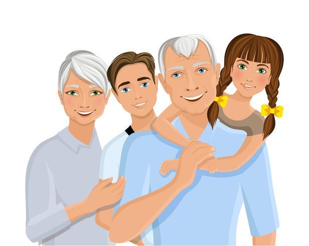 Abuelos y nietos vector