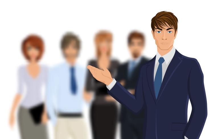Homem negócios, com, equipe vetor