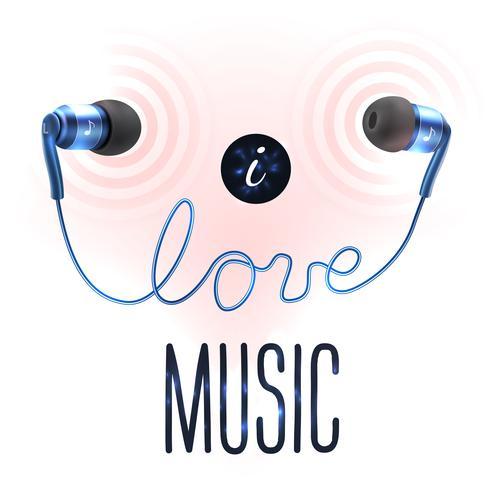 Auriculares con letras de amor