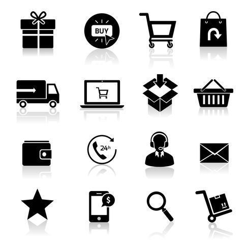 Iconos de comercio electrónico de compras vector