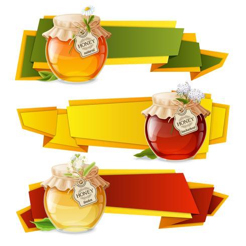 Banners de origami de mel vetor