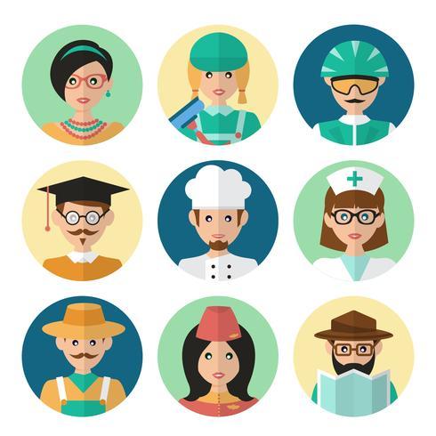 Affronta icone avatar vettore