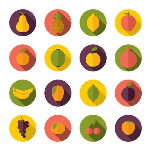 Set van fruit pictogrammen vector
