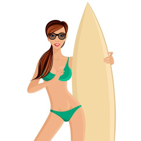 Surfer girl portrait vector