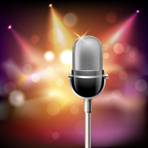 Retro microphone background vector