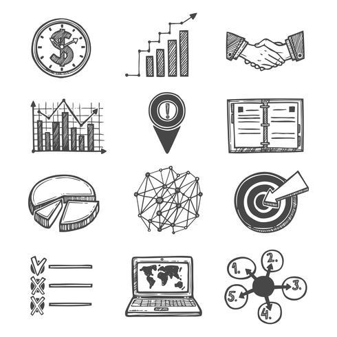 Iconos de estrategia y gestión de croquis. vector