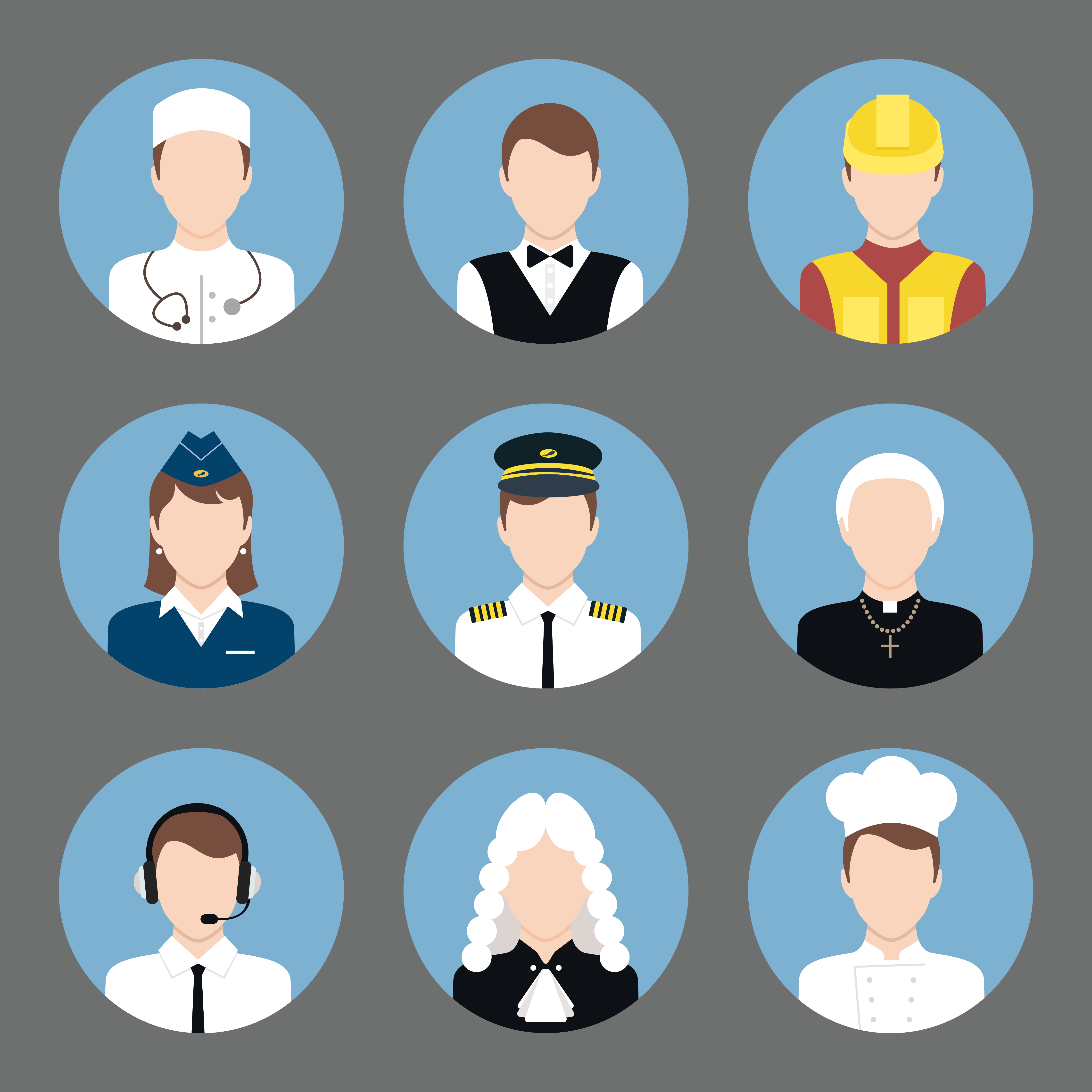 Flat Code Logo Collection: Professions Avatar Flat Icons Set 453238