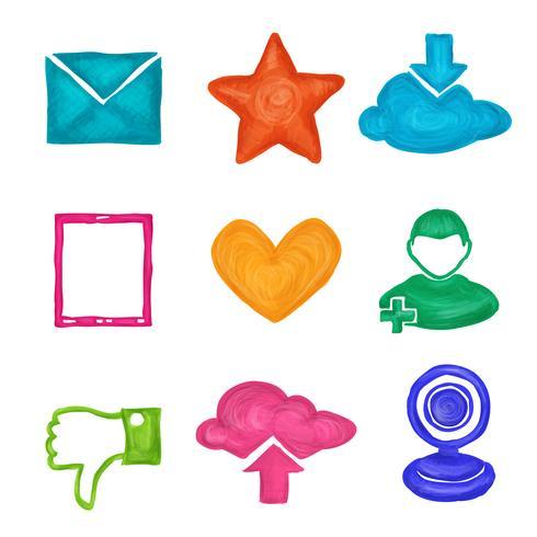 Sociala medier ikoner målade