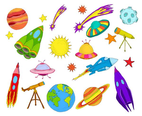 Space objects sketch set colored vector