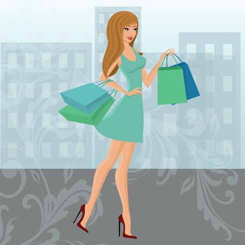 Menina de compras urbana vetor