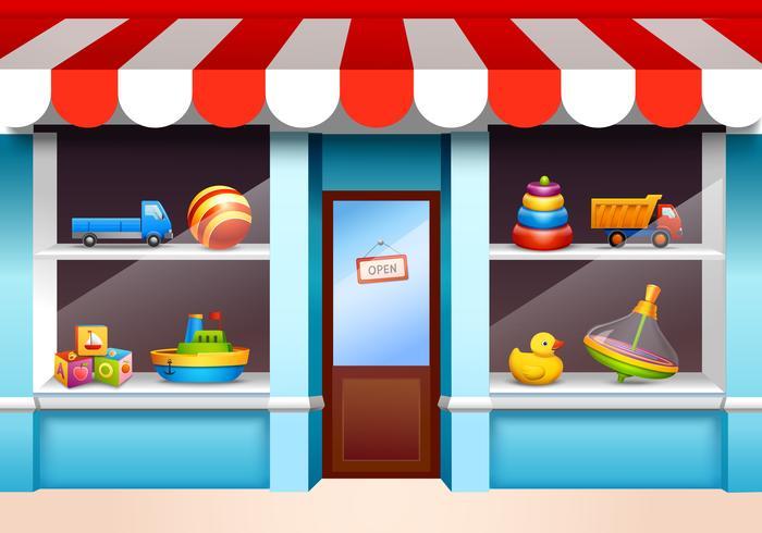 Toys shop window vector