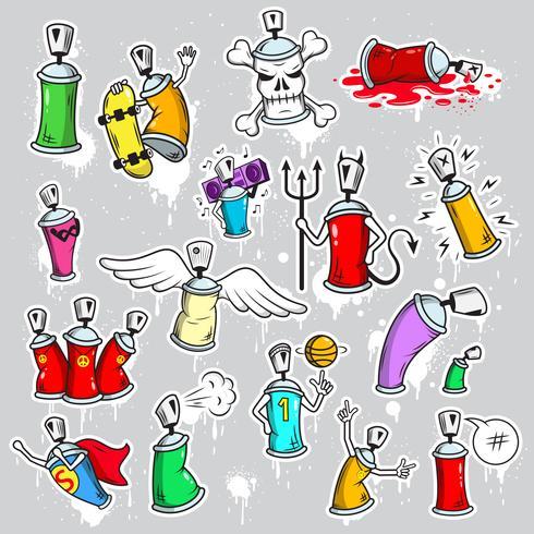 Graffiti characters icons set vector