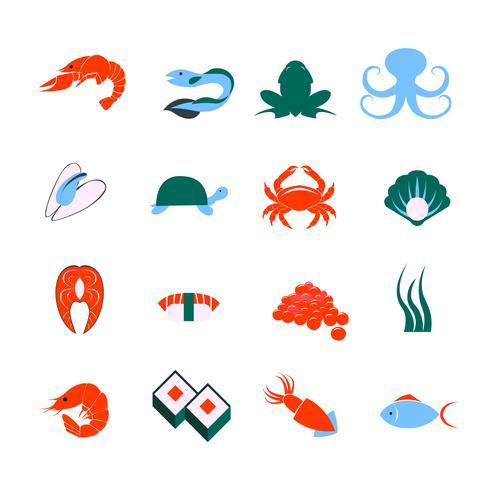 Jeu d'icônes de fruits de mer vecteur