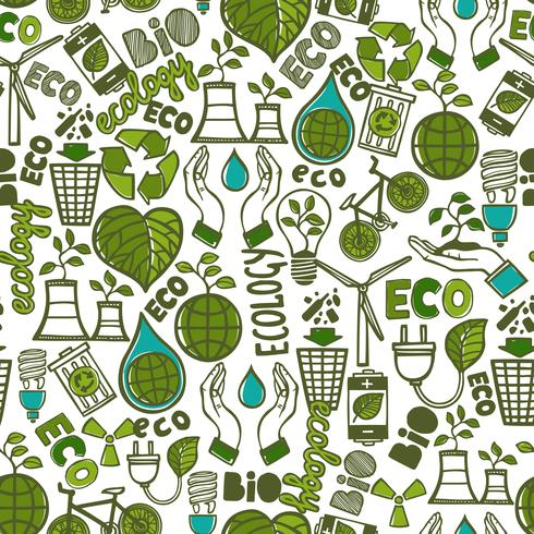 Ecology seamless pattern vector