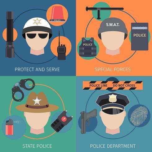 Police flat set vector