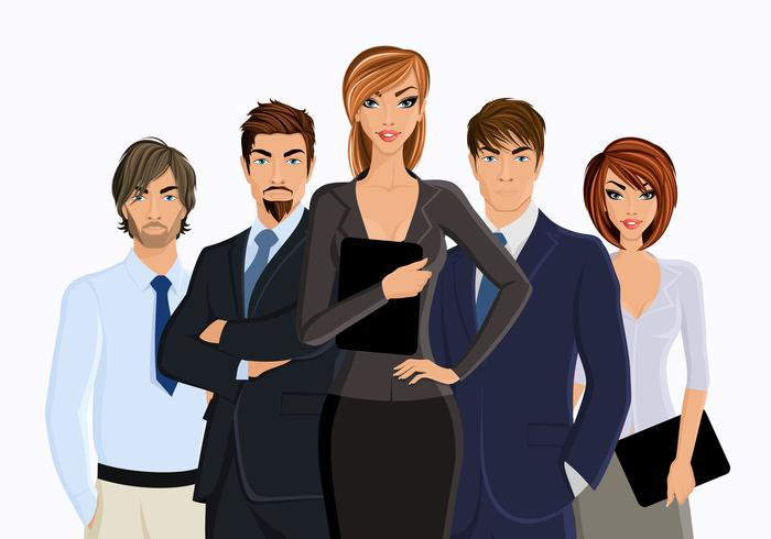 Busines woman with business team vector