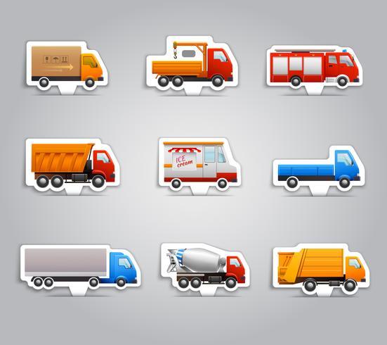 Etiquetas engomadas de papel de camiones vector