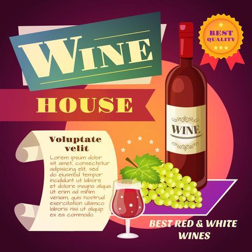 Cartel de la casa del vino vector
