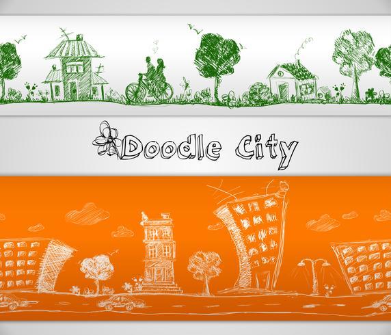 Stad doodle naadloze rand